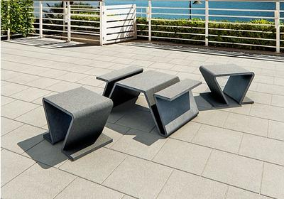 Ogrodowe meble ze smukłego betonu